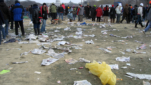trash at inauguration 